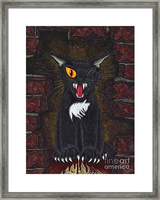 Framed Print featuring the painting The Black Cat Edgar Allan Poe by Carrie Hawks