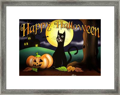The Black Cat Greeting Card Framed Print