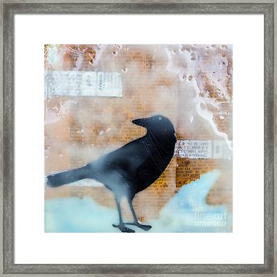 The Black Crow Knows Mixed Media Encaustic Framed Print by Edward Fielding