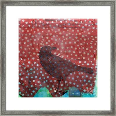 The Black Crow Knows Snowfall Encaustic Mixed Media Framed Print by Edward Fielding