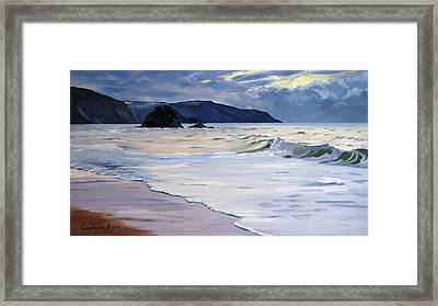 Framed Print featuring the painting The Black Rock Widemouth Bay by Lawrence Dyer