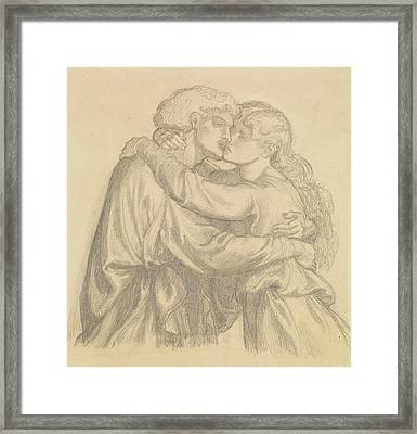 The Blessed Damozel - Study Of Two Lovers Embracing Framed Print by Dante Gabriel Rossetti