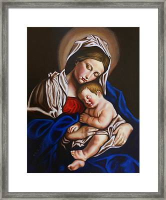 The Blessed Mother And The Infant Jesus Framed Print