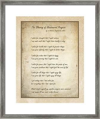 The Blessing Of Unanswered Prayers Framed Print