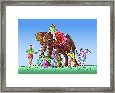 The Blind And The Elephant Framed Print by Anthony Mwangi