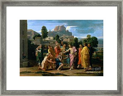 The Blind Of Jericho Framed Print by Nicolas Poussin