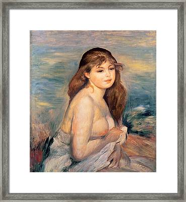 The Blonde Bather Framed Print by Pierre Auguste Renoir