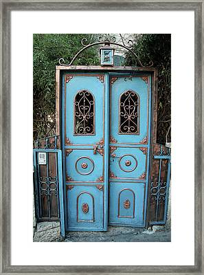 Framed Print featuring the photograph The Blue And Gold Door Of Jerusalem by Yoel Koskas