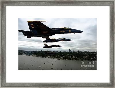 The Blue Angels Flying Over Seattle Framed Print by Celestial Images