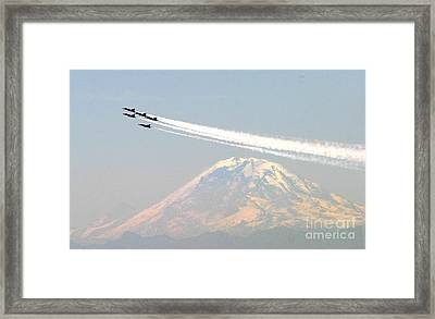 The Blue Angels Over Mount Rainier Seattle Framed Print by Celestial Images