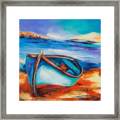 Framed Print featuring the painting The Blue Boat by Elise Palmigiani