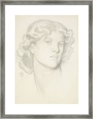 The Blue Bower - Female Head Study Framed Print by Dante Gabriel Rossetti