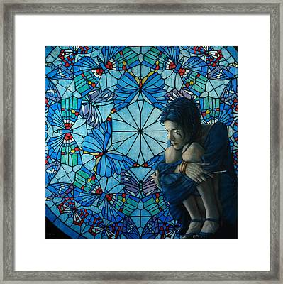 The Blue Caterpillar From Alice In Wonderland Framed Print