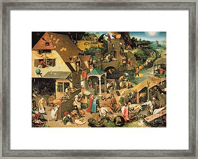The Blue Cloak Framed Print by Pieter the Elder Bruegel