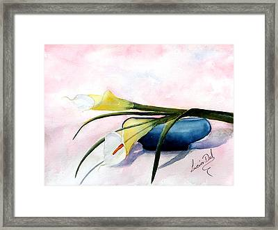 The Blue Dish Framed Print by Lucia Del