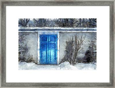 The Blue Door Beckons Pencil Framed Print