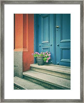 Framed Print featuring the photograph The Blue Door by Karen Stahlros