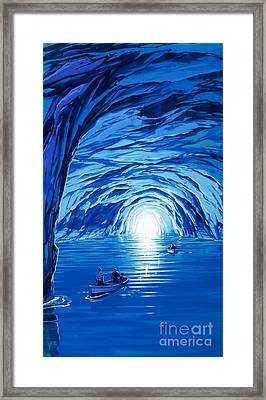 The Blue Grotto In Capri By Mcbride Angus  Framed Print by Angus McBride