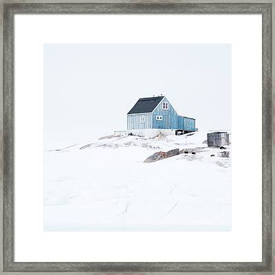 The Blue House At Oqaatsut Framed Print by Janet Burdon