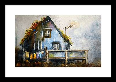 Thatched Roof Paintings Framed Prints