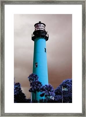 Framed Print featuring the photograph The Blue Lighthouse by Artistic Panda