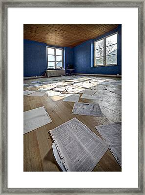 The Blue Office Abandoned - Urban Exploration Framed Print
