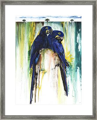 The Blue Parrots Framed Print by Anthony Burks Sr