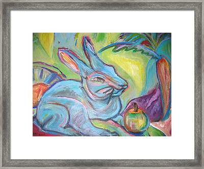 The Blue Rabbit Framed Print by Marlene Robbins