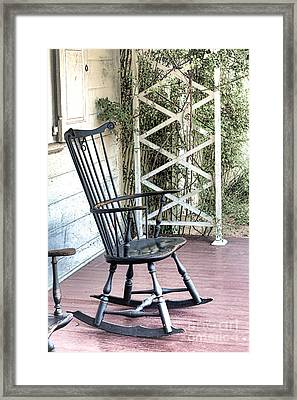 The Blue Rocking Chair  Framed Print by Olivier Le Queinec