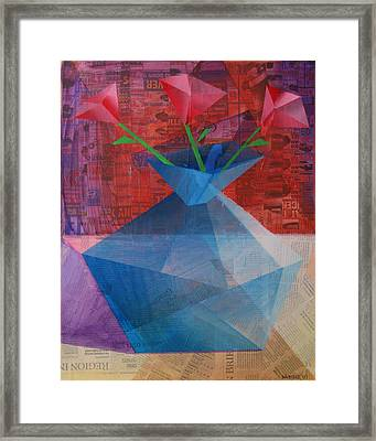 Framed Print featuring the painting The Blue Rose Vase - Mixed Media by Mark Webster