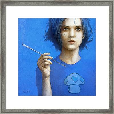 The Blue Smoker Caterpillar From Alice In Wonderland Framed Print