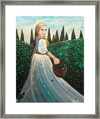 Framed Print featuring the painting The Blueberry Harvest by Mary Ellen Frazee