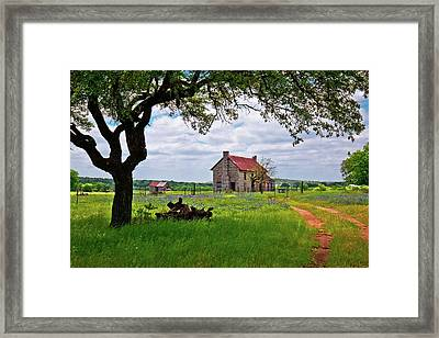 Framed Print featuring the photograph The Bluebonnet House by Linda Unger