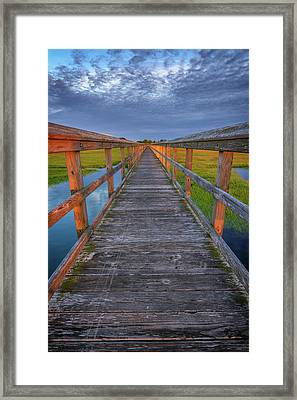 The Boardwalk In The Marsh Framed Print by Rick Berk