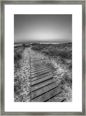 The Boardwalk In Elberta In Black And White Framed Print by Twenty Two North Photography
