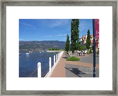 Framed Print featuring the painting The Boardwalk In Kelowna   by Rod Jellison