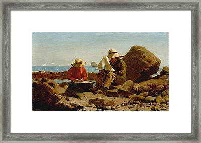 The Boat Builders - 1873 Framed Print by Winslow Homer