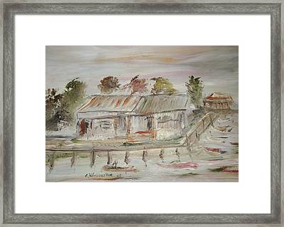 The Boat Dock Framed Print by Edward Wolverton
