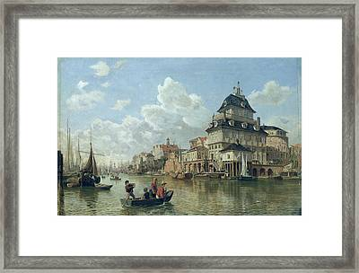 The Boat House At Hamburg Harbour Framed Print