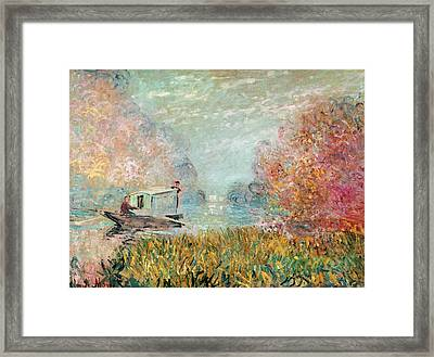 The Boat Studio On The Seine Framed Print by Claude Monet