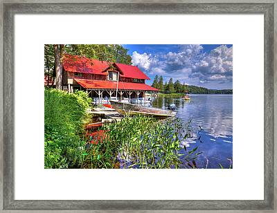 Framed Print featuring the photograph The Boathouse At Covewood by David Patterson