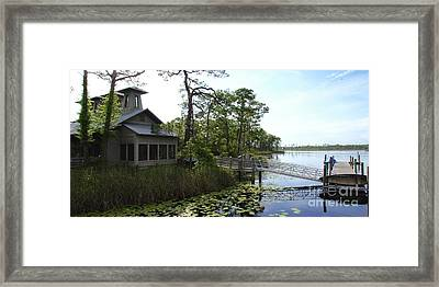 The Boathouse At Watercolor Framed Print by Megan Cohen