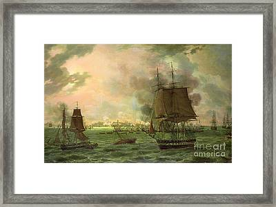 The Bombing Of Cadiz By The French  Framed Print by Louis Philippe Crepin