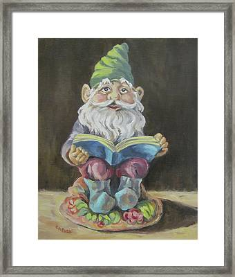 The Book Gnome Framed Print by Cheryl Pass
