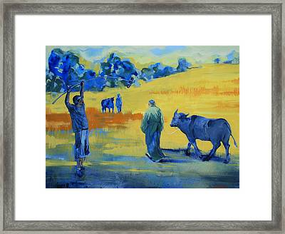 The Boom Man And The Buffalo Framed Print