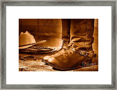 The Boots - Sepia Framed Print by Olivier Le Queinec