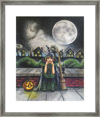 The Bored Little Witch Framed Print