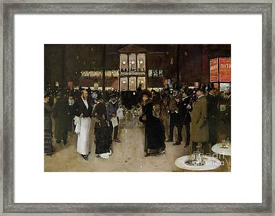 The Boulevard At Night Framed Print by Jean Beraud