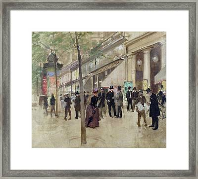 The Boulevard Montmartre And The Theatre Des Varietes Framed Print by Jean Beraud