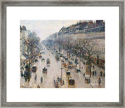 The Boulevard Montmartre On A Winter Morning, 1897  Framed Print by Camille Pissarro